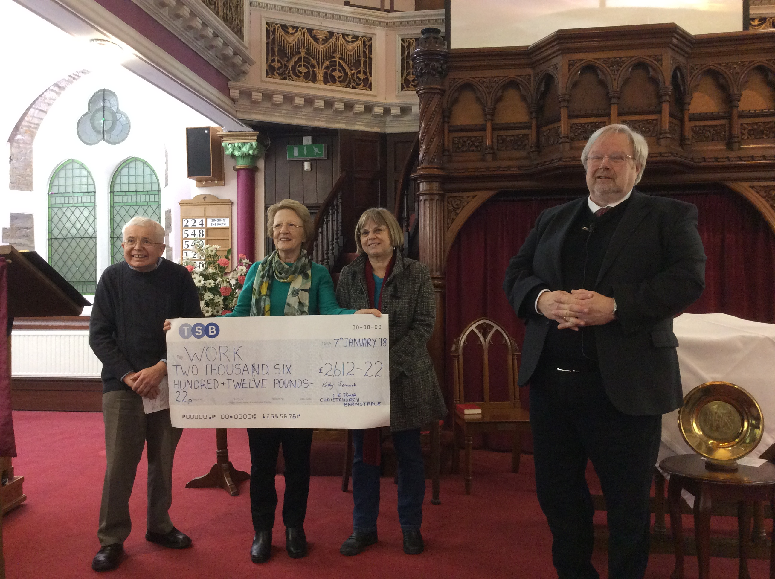 Rev. Don presenting a cheque for £2,612.22 – a magnificent total.